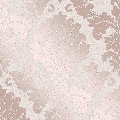 Fine Decor Wallcoverings FD42204 - Quarzo damascato, oro rosa