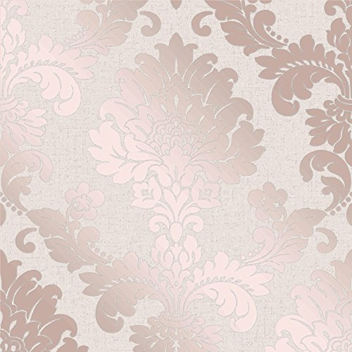 Fine Decor Wallcoverings FD42204 cuarzo damasco, oro rosa