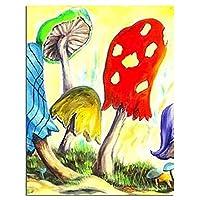 DIYプレスデジタル塗装漫画マッシュルームポイントデジタル絵画キット絵画手描きアートギフトホームウォールデコレーション フレームなし 40x50cm