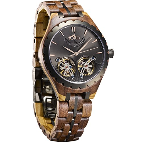 JORD Wooden Watches for Men - Meridian Series Automatic/Wood and Metal Watch Band/Metal Bezel/Self Winding Movement - Includes Wood Watch Box (Dusk Walnut & Olive)