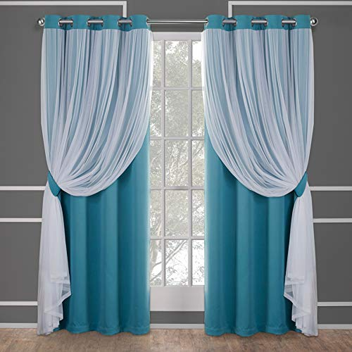 Exclusive Home Curtains Catarina Layered Solid Blackout and Sheer Window Curtain Panel Pair with Grommet Top, 52x84, Turquoise, 2 Count