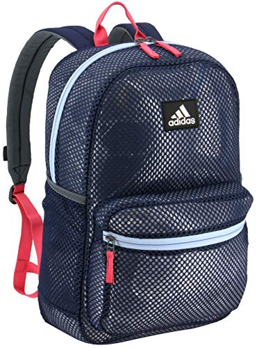 adidas Unisex Hermosa II Mesh Backpack, Collegiate Navy/Real Pink/Glow Blue, ONE SIZE