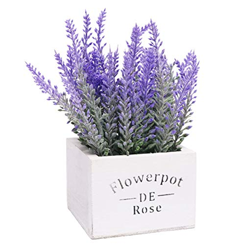Riky Artificial Lavender Flowers Potted,Lifelike Home Decor Fake Plants Pot For Wedding Decor And Table Centerpieces(White)