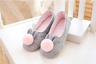 Pantofola di Lino,Pantofole per capelli con orecchie da coniglio, scarpe di maternità, suola spessa, antiscivolo, comfort-...