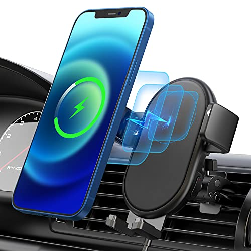Magnetic Wireless Car Charger,Air Vent Car Holder Charger,Qi Fast Charging,360° Adjustable Auto-Clamping Wireless Car Charger Compatible with iPhone 12/ Pro/Pro max/Mini/11 Pro, Galaxy Note 20/S20