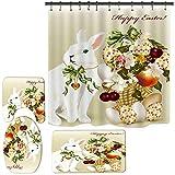 Ostern Duschvorhang Mat Set, 3D Ostern Protein Kaninchen Print Duschvorhang Mat Badezimmer Base Mat WC Mat 4Pcs Set mit Haken