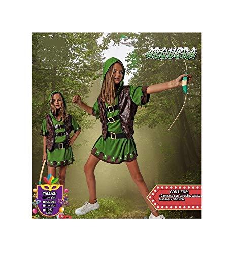 Costumizate! Disfraz de arquera Talla 7-9 Especial para niñas Fiestas de Disfraces o Carnaval