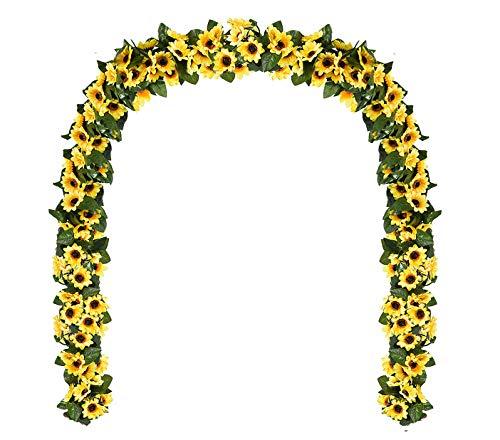 ROMAY Sonnenblumen-Girlande aus Seide, Sonnenblume, Weinrebe, künstliche Blumen mit grünen Blättern, für Zuhause, Hochzeit, Partys Small Sunflower grün