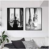 A&D Schwarz und Weiß Fenster Mädchen Ballerina Poster