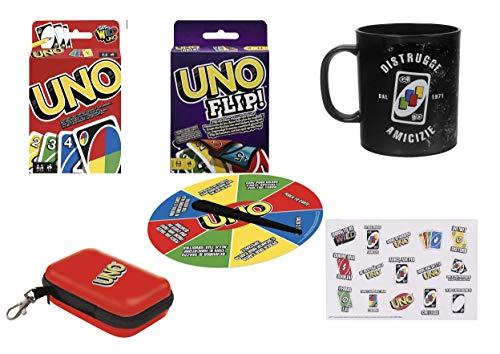 Uno para sei, oferta con juego de cartas UNO, uno Flip, rueda de penitencia, estuche, taza, pegatina