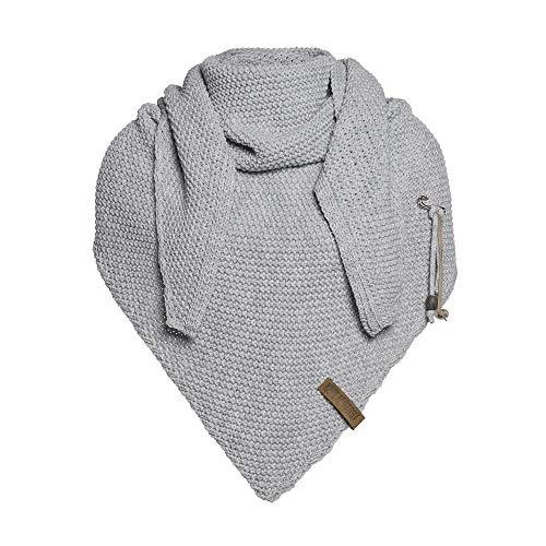 Knit Factory - Dreiecksschal Coco - Damen Strickschal mit Wolle - Hochwertige Qualität - XXL Schal - 190 x 85 cm - Grau