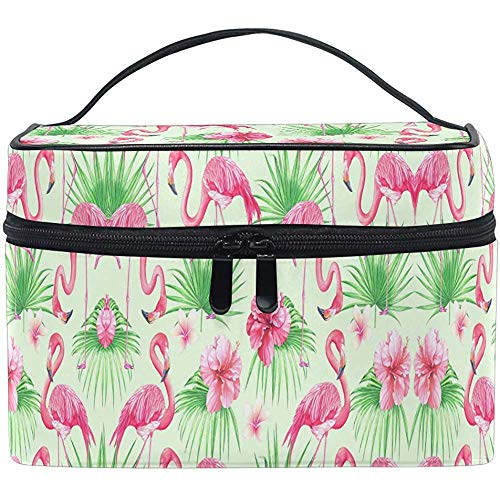 Trocial Flower Birds Palm Leaves Cartoon Cosmetic Bag Travel Cosmetic Brush Bag Storage Organizer