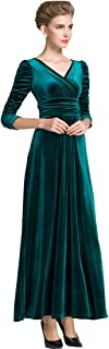 MedeShe Women's Christmas Long Sleeve V Neck Velvet Maxi Dress