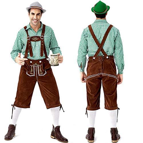 Mono tradicional bvaro para hombre, pantaln de piel con tirantes, Oktoberfest, 2 piezas, disfraz de cosplay para fiesta de cerveza, pantaln + blusa medium verde
