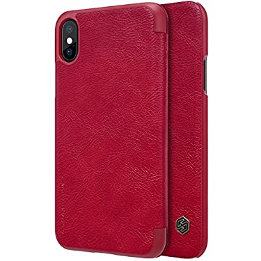 """Nillkin Case for Apple iPhone Xs (5.8"""" Inch) Qin Genuine Classic Leather Flip Folio PC with Card Slot Red Color"""