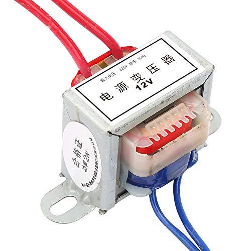Oumefar Convertisseur 220V à 12 24V Convertisseur d'alimentation 2W Transformateur de Puissance 50Hz AC à AC EI pour expérience en école(12V)