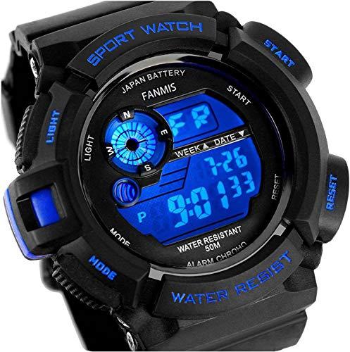 Fanmis Mens Military Multifunction Digital LED Watch Electronic Waterproof Alarm Quartz Sports Watch (Blue)