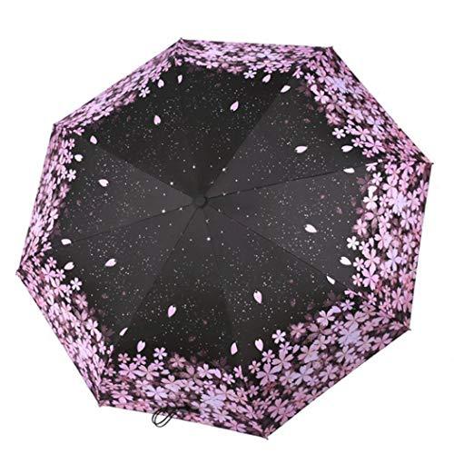 JUSTDOLIFE Ombrello Compatto Ombrello Ultraleggero Automatico A Pioggia Sun Sakura