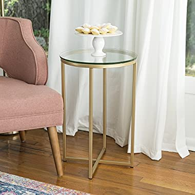 WE Furniture 16  Round Side Table - Glass/Gold