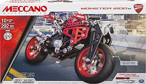 MECCANO - DUCATI MONSTER 1200s - Superbe Réplique Moto Ducati Monster - Coffret Inventions Avec 292 Pièces Et 2 outils - Jeu de Construction - 6027038 - Jouet Enfant 10 Ans et +