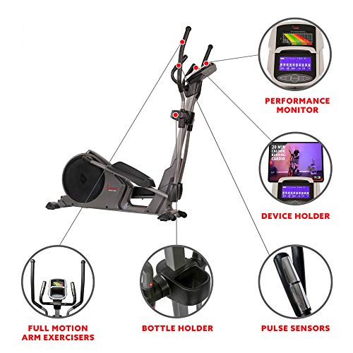 Product Image 10: Sunny Health & Fitness Magnetic Elliptical Trainer Machine w/Device Holder, Programmable Monitor and Heart Rate Monitoring, 330 LB Max Weight – SF-E3912, Silver