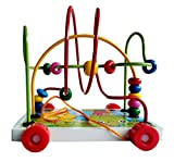 Toyshine Wooden Toys Rolling Bead Maze Pull Car Roller Coaster (Assorted)