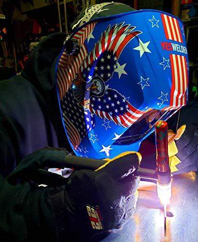 YESWELDER Large Viewing Screen True Color Solar Auto Darkening Welding Helmet,4 Arc Sensor Wide Shade 5/9-9/13 for TIG MIG Arc Weld Grinding Welder Mask LYG-M800H-B
