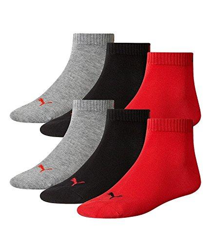 6 Paar Puma Quarter Socken, Kurz-Socken, Sportsocken,(mt) (35-38, black/red-232)