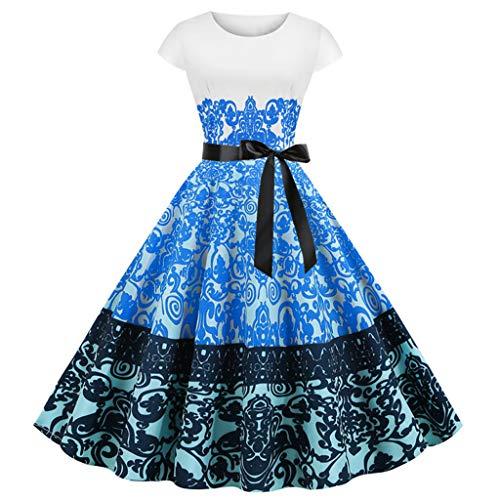YAYAKI Damen 50er Vintage Retro Kurzarm Kleider Rundhals Elegant Rockabilly Kleider 2020 Neu Cocktailkleid Modedruck Lose Partykleid Festliche Kleider Freizeit Faltenrock Dresses(Blau-3,L)