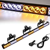 Traffic Advisor Light Bar 35.5 Inch 13 Flash Patterns 32 Led Warning Emergency Strobe Light Bar Directional Flashing Led Safety Lights with Cigar Lighter (35.5 Inch, Yellow/White)