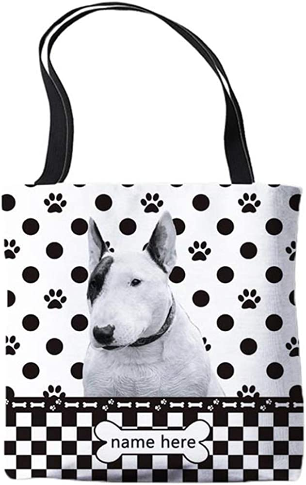 Personalized Polka Dots Canvas Tote Bags with My Beloved Dog Bulldog Pet Shoulder Bag Double Sided Printing Gift