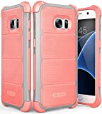 VENA Samsung Galaxy S7 Funda, [vArmor] [Tough Wave Armor] Protección de Alta Resistencia [Shock Absorption] Cubierta PC Parachoques de TPU para Samsung Galaxy S7 (Gris Claro/Rosa)