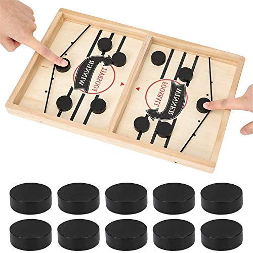 Foosball Winner Board Game New Wave,Large Size Fast Sling Puck Game Slingshot Board Game,Parent-Child Interactive Chess,Fast Sling Puck Game Foldable,Wooden Hockey Table Game Fast Sling Puck (Big)