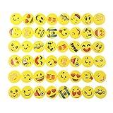 JZK Set von 48 Stücke Emoji Kinder Radiergummi Smiley Radierer, Spielzeug Gastgeschenk Geschenke für Geburtstag Party Festival neues Jahr Weihnachten, gelb