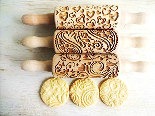 LOVELY DAY 3 mini rolling pin set with PAISLEY, HEARTS, SPRING patterns. WOODEN LASER ENGRAVED EMBOSSED DOUGH ROLLER for EMBOSSED COOKIES. GIFT for BIRTHDAY EASTER CHRISTMAS