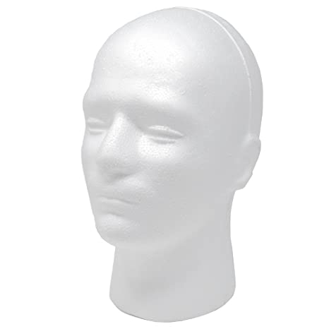 heDIANz Cabeza De Maniqu/í De Espuma Masculina Maniqu/í Modelo De Espuma De Poliestireno Peluca Gafas Sombrero Soporte De Exhibici/ón Blanco