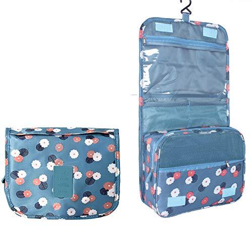 TREESTAR Multifunctional Wash Bag Makeup Packing Cube Organiser Waterproof Shower Toiletry Bag Hanging Cosmetics Large Capacity Storage Bag with Hook(Blue)