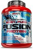 AMIX, Proteína Whey, Pure Fusión, Concentrado de Suero Ultra Filtrado, Sabor a Doble chocolate blanco, Proteínas para Aumentar Masa Muscular, Proteína Isolada con Splenda, Contiene L-glutamina, 2,3 Kg