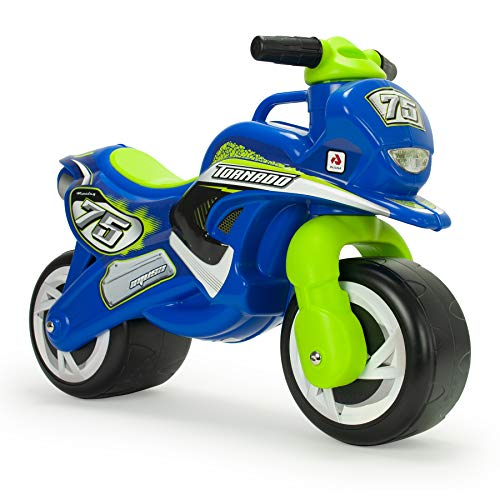 INJUSA - Correpasillos Moto Tundra con Decoración Permanente e Impermeable Recomendada Niños +18 Meses Color Azul y Verde