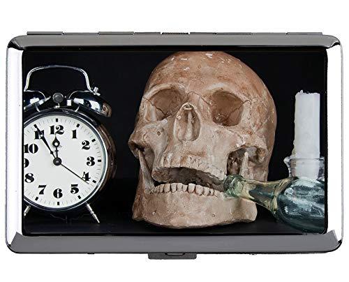 Caja de Cigarrillos de Acero Inoxidable de Plata de Yanteng, Hora de Alarma de Reloj Cráneo de protección Caja de Almacenamiento de la Caja de Soporte de Tarjeta de Visita de crédito
