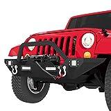 LEDKINGDOMUS Front Bumper Compatible with 07-18 Jeep Wrangler JK & Unlimited Rock Crawler Bumper...