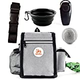 Glifmeey Dog Treat Pouch Pet Training Kit Bag,Dog Treat Pouch Magnetic Closure,Dog Training Fanny Pack with Shoulder Straps,Folding Dog Bowls,Clickers,Training Balls, Easily Carries Pet Toys,Kibbles