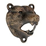 Design Toscano Grizzly Bear of the Woods Wall Mount Bottle Opener, 3 Inch, Cast Iron, Aged Gold
