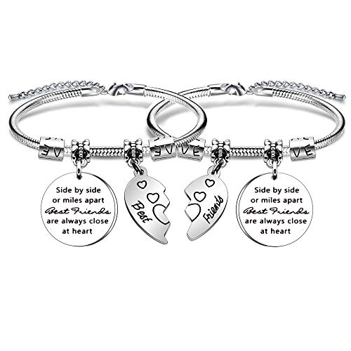 YONGHUI 2 PCS Best Friends Charm Adjustable Bangle Snake Bracelets For Women Girls- Set Side By Side Or Miles Apart Friends Are Always Close At Heart Silver