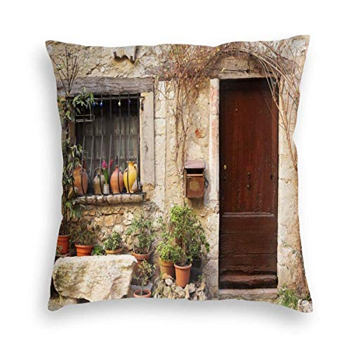 Doors of an Old Rock House with French Frame Details in Countryside European Past Theme Velvet Soft Decorative Square Throw Pillow Covers Cushion Case Pillowcases for Sofa Chair Bedroom Car 18X18inch