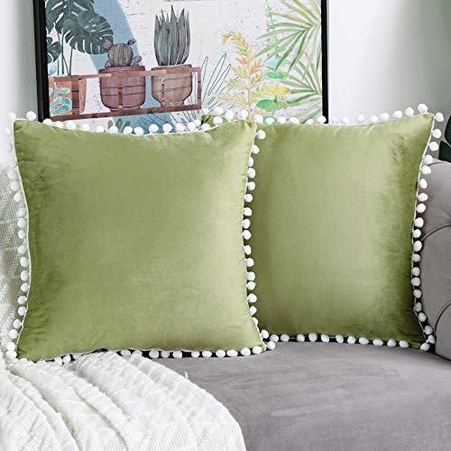 WLNUI Set of 2 Soft Velvet Sage Green Pillow Covers 16x16 Inch Square Decorative Cute Pom Poms Throw Pillow Covers Cushion Case for Sofa Couch Home Farmhouse Decor