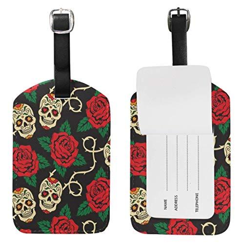 Etiquetas de equipaje con diseño de calavera de azúcar de rosas para maleta de viaje, 1 unidad