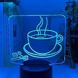 Acrilico 3D Ottico Led Night Light Tazza di Caffè Modello Colorato Lampada Da Tavolo per Negozio Decor Cool Gadget Ufficio Casa Luce Decorativa