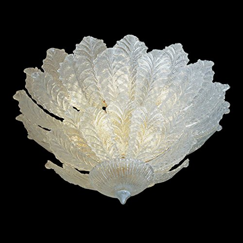 Foglia Murano Glas Deckenleuchte transparent | Handgefertigt in Italien | Deckenlampe Klassisch Dimmbar | Lampe E14