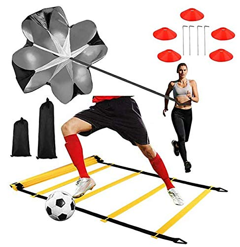 GHB Agility Ladder Speed Ladder 6M 12-Rung with Resistance Parachute, 10 Cones and 4 Stakes